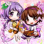 2girls biwa_lute brown_eyes brown_hair chibi dress flower hair_flower hair_ornament hairband instrument koto_(instrument) long_hair long_sleeves lute_(instrument) mitsu_(kuromitu-izumi) multiple_girls musical_note open_mouth purple_eyes purple_hair short_hair siblings sisters skirt smile touhou tsukumo_benben tsukumo_yatsuhashi twintails