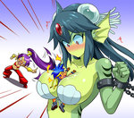 1boy 2girls =_= angry arms_up bare_shoulders between_breasts blue_background blue_hair blush bolo_(shantae) breasts chain cleavage closed_eyes cuffs dark_skin eyebrows_visible_through_hair forehead_jewel forehead_protector gem giantess giga_mermaid green_skin hair_ornament hand_on_another's_chest happy harem_pants head_fins headband jealous large_breasts mermaid monster_girl multiple_girls navel no_mouth o-ring_top open_mouth pants pervert pointing pointy_ears ponytail purple_hair red_eyes restrained shantae:_half-genie_hero shantae_(character) shantae_(series) shell shell_bikini shoes simple_background spiked_hair tears upper_body wanao wristband