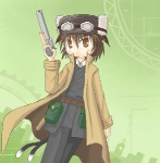 1girl artist_request cat_tail chen cosplay earrings fur_hat goggles gun handgun hat jewelry kino kino_(cosplay) kino_no_tabi lowres multiple_tails parody pistol solo tail touhou weapon