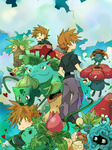 1boy :o bellsprout brown_eyes brown_hair bukiko bulbasaur exeggcute exeggutor from_behind gloom ivysaur oddish one_eye_closed ookido_green ookido_green_(frlg) open_mouth pants paras pokemon pokemon_(game) pokemon_frlg short_sleeves tangela venusaur victreebel vileplume weepinbell