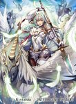 1girl armor breastplate cape commentary_request company_connection copyright_name dress elbow_gloves feathered_wings feathers fire_emblem fire_emblem:_souen_no_kiseki fire_emblem_cipher gloves green_eyes green_hair headpiece holding holding_weapon horns long_hair looking_at_viewer nagahama_megumi official_art open_mouth pegasus pegasus_knight polearm short_dress short_sleeves shoulder_armor sigrun spear weapon white_gloves wings