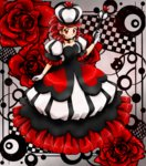 1girl asymmetrical_hair blush breasts checkered checkered_background chikorita85 cleavage collarbone commentary crown dress drill_hair drill_locks earrings eyelashes floral_background flower full_body gloves hand_up heart heart_earrings heart_necklace high_contrast holding jewelry long_dress looking_at_viewer original playing_card_theme puffy_dress puffy_short_sleeves puffy_sleeves queen red red_eyes red_flower red_hair red_rose rose scepter short_sleeves small_breasts smile solo standing white_gloves