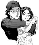 1boy 1girl ainu arms_around_neck asirpa black_hair black_headwear black_shirt closed_mouth contemporary earrings facial_scar forehead golden_kamuy greyscale hat head_tilt hoop_earrings hug hug_from_behind jewelry kimidake locked_arms long_hair long_sleeves looking_to_the_side messy_hair monochrome scar shirt short_hair simple_background sugimoto_saichi tight_shirt white_background