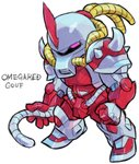 aburaya_tonbi character_name chibi full_body fusion gouf gundam horn looking_at_viewer marvel mechanization mobile_suit_gundam omega_red one-eyed pink_eyes simple_background solo standing tentacles white_background x-men