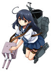 1girl :3 ahoge black_hair brown_eyes hisakawa_chin kantai_collection long_hair machinery sailor_dress smile solo thigh_strap torpedo turret ushio_(kantai_collection)