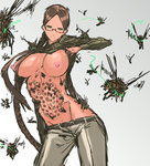 1girl bangs braid breasts brown_hair commentary_request cowboy_shot creature_inside creepy glasses glasses_girl_(nameo) green_eyes highres hole_on_body insect jojo_no_kimyou_na_bouken large_breasts long_hair nameo_(judgemasterkou) nipples no_bra original parted_bangs ribbed_sweater semi-rimless_glasses smile solo sweater sweater_lift trypophobia twin_braids under-rim_glasses