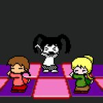3girls >_< animated black_hair blonde_hair brown_hair brown_skirt closed_eyes commentary_request crypt_of_the_necrodancer gobou_(gobou-san) green_shirt long_sleeves lowres madotsuki monoko multiple_girls no_nose open_mouth pink_shirt pixel_art poniko red_footwear red_skirt shirt skirt twintails ugoira white_skin yume_nikki