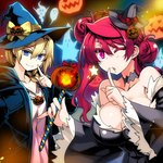 2girls alternate_hairstyle blonde_hair blue_eyes blush braid breasts choker cleavage dress finger_to_mouth fur_trim ghost hair_bun hair_over_shoulder hat ishida_akira jack-o'-lantern large_breasts long_hair long_sleeves looking_at_viewer maou_(maoyuu) maoyuu_maou_yuusha multiple_girls one_eye_closed onna_kishi_(maoyuu) red_eyes red_hair single_braid smile witch witch_hat