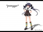 1girl ahoge arms_behind_back black_bow black_footwear black_hair bow copyright_name full_body hair_bow kneehighs kooh letterboxed long_hair looking_at_viewer pangya red_eyes shadow shirt shoes sidelocks skirt solo standing striped striped_legwear twintails vertical_stripes wallpaper watermark web_address white_background white_shirt