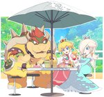 2girls bare_shoulders blonde_hair blue_dress blue_earrings blue_eyes blue_sky blush bowser bowser_jr. cake collar crown cup day dress drinking_straw earrings eating food fork gloves hair_over_one_eye highres jewelry lips long_hair mario_(series) mug multiple_girls omochi_(glassheart_0u0) open_mouth outdoors pancake pink_dress princess_peach red_eyes red_hair rosalina sitting sky smile spikes stack_of_pancakes star star_earrings studded_bracelet studded_collar super_mario_galaxy table