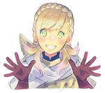 1girl aisutabetao armor blonde_hair blush braid cape fire_emblem fire_emblem_heroes gloves green_eyes long_hair looking_at_viewer open_mouth sharena simple_background smile solo white_background