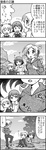 3girls 4koma alternate_hairstyle breast_envy comic commentary_request drill_hair gloom_(expression) hair_ornament hairclip highres hoodie index_finger_raised kaname_madoka looking_at_breasts mahou_shoujo_madoka_magica miki_sayaka monochrome multiple_girls ponytail running school_uniform short_hair short_twintails sitting sweat tomoe_mami towel track_suit translated twin_drills twintails yuuki_akira ||_||
