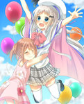 2girls absurdres arizuki_shiina arms_up blue_eyes brown_hair cape closed_eyes cloud day dress fang floral_print hat highres hug jumping kud_wafter legs_up little_busters! long_hair multiple_girls noumi_kudryavka open_mouth outdoors pink_dress plaid plaid_skirt shirt skirt sky smile sundress thighhighs white_cape white_legwear white_shirt youyi_(yui010321)