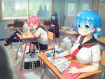 2boys 3girls adapted_object alternate_hairstyle ayami_(annahibi) bag blue_eyes blue_hair book breast_rest breasts chin_rest classroom cloak closed_mouth contemporary desk emilia_(re:zero) eyebrows_visible_through_hair green_hair green_skin grin hair_ornament hair_over_one_eye hidden_face highres indoors jacket large_breasts magic_circle multiple_boys multiple_girls natsuki_subaru open_book petelgeuse_romaneeconti pink_eyes pink_hair pleated_skirt puck_(re:zero) ram_(re:zero) re:zero_kara_hajimeru_isekai_seikatsu rem_(re:zero) school_chair school_desk school_uniform serafuku shoes short_hair short_sidetail sitting skirt smile sneakers socks thighhighs tile_floor tiles track_jacket track_suit uwabaki white_legwear x_hair_ornament
