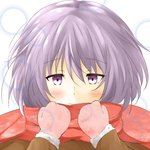 1girl blush eyebrows_visible_through_hair fur-trimmed_sleeves fur_trim gloves honest_(honenano) light_smile nagato_yuki purple_eyes purple_hair red_scarf scarf short_hair solo suzumiya_haruhi_no_shoushitsu suzumiya_haruhi_no_yuuutsu upper_body white_background