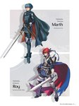 2boys absurdres ahoge arm_guards armor armored_boots artist_name bangs blue_eyes blue_hair boots cape character_name closed_mouth fingerless_gloves fire_emblem fire_emblem:_fuuin_no_tsurugi fire_emblem:_kakusei fire_emblem:_monshou_no_nazo fujisaka_kimihiko full_body gloves headband highres holding holding_sword holding_weapon jewelry kita_senri long_sleeves looking_at_viewer male_focus marth multiple_boys official_art page_number pants red_hair roy_(fire_emblem) shiny shiny_hair short_hair shoulder_armor simple_background smile standing sword thigh_boots thighhighs tiara weapon
