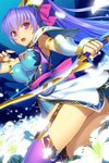 1girl aqua_leotard armpits ass bow_(weapon) breasts detached_sleeves field flower flower_field garter_straps holding holding_sword holding_weapon leotard lily_(flower) medium_breasts official_art open_mouth pauldrons ponytail purple_eyes purple_hair purple_legwear sangoku_romance solo sword teeth thighs weapon white_flower yangsion