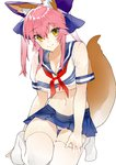 1girl absurdres animal_ear_fluff animal_ears bandeau bangs blue_bow blue_skirt blush bow breasts cleavage closed_mouth crop_top crop_top_overhang fate/extra fate_(series) fox_ears fox_girl fox_tail hair_bow highres hips kou_mashiro large_breasts long_hair looking_at_viewer navel neckerchief pink_hair pleated_skirt red_neckwear sailor_collar school_uniform see-through serafuku short_sleeves sidelocks skirt smile solo tail tamamo_(fate)_(all) tamamo_no_mae_(fate) thighhighs thighs twintails white_legwear yellow_eyes