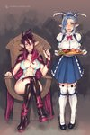 2girls animal_ears apple banana bbc-chan blue_hair blush boots bow bowtie breasts breasts_apart cape center_opening choker crossed_legs dress elf food fruit full_body gloves grapes hair_over_one_eye half-closed_eyes highres large_breasts looking_at_viewer maid multiple_girls naughty_face nipples open_mouth original plate pointy_ears purple_eyes purple_hair saliva sitting smile standing thighhighs throne trembling vambraces vibrator white_legwear yellow_eyes