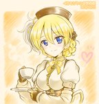 1girl artist_name bangs black_gloves black_headwear blonde_hair blue_eyes bow bowtie braid burafu closed_mouth commentary cosplay cup darjeeling dated detached_sleeves eyebrows_visible_through_hair fingerless_gloves girls_und_panzer gloves hair_ornament hat heart high_collar holding holding_cup holding_saucer looking_at_viewer mahou_shoujo_madoka_magica orange_background puffy_short_sleeves puffy_sleeves shirt short_hair short_sleeves smile solo teacup tied_hair tomoe_mami tomoe_mami_(cosplay) twin_braids upper_body white_shirt yellow_neckwear