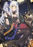 1girl cleavage_cutout commentary echj elf eyepatch girls_frontline green_eyes guitar hair_ribbon halloween halloween_costume hk416_(girls_frontline) instrument m16a1_(girls_frontline) pantyhose pointy_ears ribbon scrunchie solo torn_clothes torn_legwear white_hair