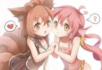 2girls ? animal_ears bai_qiao breasts brown_choker brown_eyes brown_hair brown_skirt choker cleavage flat_chest heart highres holding_hands long_hair looking_at_viewer magikarp medium_hair multiple_girls navel personification pink_hair pokemon simple_background skirt small_breasts spoken_heart spoken_question_mark tail twintails upper_body vulpix white_background