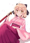 1girl ahoge black_ribbon blonde_hair eyebrows_visible_through_hair fate/grand_order fate_(series) hair_ribbon hakama half_updo highres holding holding_sword holding_weapon japanese_clothes katana kimono koha-ace okita_souji_(fate) okita_souji_(fate)_(all) pink_kimono profnote red_hakama ribbon scabbard sheath sheathed simple_background smile solo sword weapon white_background wide_sleeves yellow_eyes