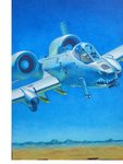 a-10_thunderbolt_ii absurdres acrylic_paint_(medium) aircraft airplane blue_sky calligraphy_brush_(medium) commentary_request day flying gatling_gun hayashi_toshihiro highres horizon military outdoors rocket scenery sky solo traditional_media