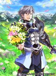1boy arm_guards armor azur_(fire_emblem) belt black_pants blue_armor blue_coat blue_footwear boots bouquet cloud coat collarbone commentary_request copyright_name cowboy_shot day determined earrings fire_emblem fire_emblem:_kakusei fire_emblem_cipher flower grass grey_eyes grey_hair holding holding_sword holding_weapon jewelry knee_boots knee_pads lips looking_at_viewer male_focus mountain official_art open_mouth pants petals sheath shirt smile solo standing stud_earrings sunlight sword undershirt vambraces wada_sachiko weapon white_shirt