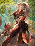 1girl ass black_ribbon braid closed_mouth commentary_request felyne food from_behind gauntlets hair_ribbon highres holding lack looking_at_viewer looking_back meowscular_chef monster_hunter monster_hunter:_world odogaron_(armor) ponytail ribbon silver_hair sitting solo spaulders standing tail yellow_eyes