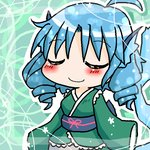1girl ahoge annyui blue_hair blush breasts chibi closed_eyes drill_hair japanese_clothes kimono medium_breasts mermaid monster_girl obi sash sleeves_past_wrists smile solo touhou wakasagihime