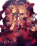 2girls ascot bat_wings blonde_hair blood blood_on_face bloody_clothes bow brooch closed_eyes commentary_request crystal dress eyebrows_visible_through_hair fang flandre_scarlet frilled_shirt_collar frills grey_hair hand_up hat hat_bow highres jewelry mob_cap multiple_girls parted_lips pointy_ears puffy_short_sleeves puffy_sleeves red_bow red_dress red_eyes red_neckwear remilia_scarlet short_hair short_sleeves siblings side_ponytail simple_background sisters skirt_hold smile touhou white_background white_dress wings wiriam07 wrist_cuffs yellow_neckwear