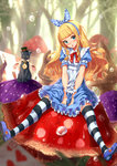 1girl alice_(wonderland) alice_in_wonderland animal apron arms_between_legs black_hat blonde_hair blue_dress blue_eyes blue_hairband blush bow bowtie cat dress eyebrows_visible_through_hair forest full_body hair_bow hairband hat head_tilt highres kazeno long_hair looking_at_viewer nature open_mouth outdoors polka_dot polka_dot_bow red_bow red_bowtie short_sleeves sitting solo striped striped_legwear thighhighs tree very_long_hair water
