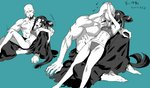 1boy 1girl abs bald barefoot breasts closed_eyes couple earrings facial_hair fate/grand_order fate_(series) girl_on_top goatee green_background head_hug height_difference hetero highres jewelry kiss long_hair monochrome musashibo_benkei_(fate/grand_order) muscle ponytail reclining rokkotsu shirtless side_bun single_strap sitting sitting_on_lap sitting_on_person small_breasts swimsuit tankini translation_request ushiwakamaru_(fate/grand_order) ushiwakamaru_(swimsuit_assassin)_(fate) very_long_hair