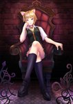 1girl animal_ears bad_id bad_pixiv_id bell bell_collar blonde_hair breasts brown_eyes cat_ears cat_girl closed_mouth collar crossed_legs highres kuraishi_tanpopo looking_at_viewer school_uniform shoes short_hair sitting skirt smile socks solo witch_craft_works yamagami_mozuku