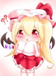 1girl ?? alternate_hair_length alternate_hairstyle arms_up blonde_hair blush chibi commentary_request eyebrows_visible_through_hair flandre_scarlet gradient gradient_background hair_between_eyes hat hat_ribbon highres long_hair looking_at_viewer mob_cap open_mouth petticoat pink_background red_eyes red_skirt red_vest ribbon shirt side_ponytail skirt skirt_set sleeves_past_fingers sleeves_past_wrists solo thighhighs touhou triangle_mouth very_long_hair vest white_headwear white_legwear white_shirt wings yairenko zettai_ryouiki