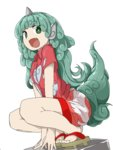 1girl :d animal_ears bangs between_legs buttons collared_shirt eyebrows_visible_through_hair fang full_body geta green_eyes green_hair hand_between_legs highres horn komano_aun long_hair looking_at_viewer open_mouth shirt short_sleeves shorts simple_background smile solo squatting tail touhou tyouseki white_background