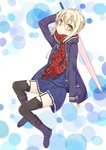 1girl :o arm_up aroma0501 artoria_pendragon_(all) bangs black_legwear blonde_hair blue_footwear blue_jacket blue_serafuku blue_shirt blue_skirt blush boots commentary_request drawstring eyebrows_visible_through_hair fate/grand_order fate_(series) fringe garter_straps glasses hair_between_eyes highres holding holding_sword holding_weapon jacket long_sleeves looking_at_viewer mysterious_heroine_x_(alter) neckerchief open_clothes open_jacket parted_lips plaid plaid_scarf pleated_skirt red_neckwear red_scarf scarf school_uniform serafuku shirt sidelocks sitting skirt solo sword thighhighs weapon white_background yellow_eyes