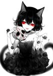 1girl :d absurdres animal_ears artist_name bare_arms bare_shoulders black_choker black_dress black_flower black_hair black_rose blood cat_ears cat_tail choker crescent crescent_choker dress eyelashes fangs flower hand_up highres holding holding_skull limited_palette looking_to_the_side nail_polish open_mouth original red_eyes red_nails rose sheya signature simple_background skull smile solo spot_color strapless strapless_dress tail thorns white_background