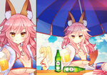 2girls animal_ears ball bangs beachball beer_bottle beer_mug bikini blonde_hair blue_bikini blue_sky blush breasts brown_eyes cleavage closed_mouth cloud cloudy_sky commentary_request cup day eyebrows_visible_through_hair fate/grand_order fate_(series) fox_ears fox_girl fox_tail glass_bottle hair_between_eyes hat hat_removed headwear_removed holding holding_mug horizon jewelry large_breasts lifebuoy long_hair looking_at_viewer maodouzi medium_breasts mug multiple_girls nero_claudius_(fate)_(all) nero_claudius_(swimsuit_caster)_(fate) ocean outdoors parasol pendant pink_hair profile sidelocks sky smile striped striped_bikini sun_hat swimsuit tail tamamo_(fate)_(all) tamamo_no_mae_(swimsuit_lancer)_(fate) twintails umbrella water white_hat yellow_eyes