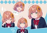 1girl >_< ahoge bangs beige_background blazer blue_background bow bowtie brown_hair buttons collared_shirt commentary crying expressions face flower green_eyes hair_flower hair_ornament hairclip hand_on_own_face hand_up highres honma_himawari jacket looking_at_viewer multiple_views nana_(nana_yume87) nijisanji red_neckwear school_uniform shaded_face shirt sunflower sweatdrop tears upper_body white_shirt