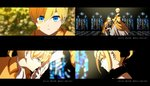 1boy 1girl 4koma aku_no_meshitsukai_(vocaloid) allen_avadonia black_bow blonde_hair blue_eyes blurry blurry_background bow brother_and_sister cel_shading choker close-up comic cravat depth_of_field dress evillious_nendaiki frilled_dress frills gloves hair_bow hand_kiss hand_on_own_chest highres juliet_sleeves kagamine_len kagamine_rin kiss kneeling long_sleeves looking_down lyrics parted_lips petals puffy_sleeves riliane_lucifen_d'autriche senka_shion short_ponytail siblings smile stained_glass twins updo vocaloid white_gloves wide_sleeves