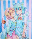 2girls blue_eyes blue_hair bow cirno graphite_(medium) hair_bow hairband happy head_tilt hug ice ice_wings komeiji_satori lips looking_at_viewer multiple_girls open_mouth photo purple_hair red_eyes short_hair smile striped striped_background touhou traditional_media watercolor_(medium) wings yuyu_(00365676)
