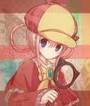 1girl blue_eyes blush bow capelet commentary_request deerstalker detective green_eyes hair_between_eyes hair_rings hat holding holding_magnifying_glass looking_to_the_side magnifying_glass pink_hair red_capelet ribbon sherlock_shellingford sidelocks solo suta_(clusta) tantei_opera_milky_holmes upper_body yellow_bow yellow_neckwear