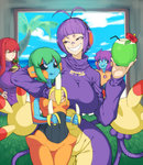 4girls ambipom antenna_hair arm_around_neck banana bandaid bandaid_on_nose biriri-ane_(space_jin) black_sclera blue_skin breasts coconut commentary deoxys deoxys_(normal) drinking_straw eating food fruit fruit_cup gen_3_pokemon gen_4_pokemon green_hair headphones highres large_breasts legendary_pokemon multiple_girls multiple_tails orange_skin original palm_tree personification pokemon purple_hair red_hair silver_eyes smile space_jin tail tongue tongue_out tree yellow_eyes