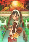 1girl abo_(kawatasyunnnosukesabu) animal apron autumn autumn_leaves backpack bag bangs black_hair bridge brown_eyes brown_shirt commentary_request day fence flower forest frilled_apron frills highres holding holding_lantern lantern looking_at_viewer looking_back maid_apron maid_headdress nature orange_skirt original outdoors picket_fence pink_flower plant ponytail river road_sign shirt sidelocks sign skirt smokestack solo squirrel squirrel_tail standing stone_wall suitcase tail tree wall wooden_fence