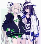 2girls animal_ears animal_hat arm_on_shoulder black_jacket black_shirt black_shorts bunny_ears bunny_hat captain_yue expressionless green_eyes grey_eyes hair_ornament hands_in_pockets hat jacket light_brown_hair long_hair long_sleeves looking_at_viewer multiple_girls open_clothes open_jacket original panda_hair_ornament print_shirt puffy_long_sleeves puffy_sleeves purple_hair shirt short_shorts shorts standing twintails twitter_username very_long_hair visor_cap white_headwear white_jacket white_shirt white_shorts zipper zipper_pull_tab