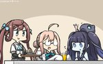 +++ 3girls ahoge animal aqua_bow aqua_neckwear arm_warmers asagumo_(kantai_collection) black_hair black_sailor_collar blue_eyes blue_skin bow bowtie brown_hair bunny commentary_request cup dated dock_hime dress drinking_glass drinking_straw eyebrows_visible_through_hair food glasses grey_eyes grey_skirt hair_bun hamu_koutarou highres juice kantai_collection long_hair makigumo_(kantai_collection) multiple_girls open_mouth pink_hair pleated_skirt sailor_collar sailor_dress shinkaisei-kan shirt short_sleeves skirt sleeveless sleeveless_dress sleeves_past_wrists smile twintails white_shirt