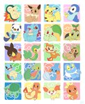 :d bird black_eyes blush_stickers brown_eyes bulbasaur charmander chespin chikorita chimchar closed_mouth commentary_request creature cyndaquil eevee fennekin fiery_tail fire froakie gen_1_pokemon gen_2_pokemon gen_3_pokemon gen_4_pokemon gen_5_pokemon gen_6_pokemon happy highres lai_(pixiv1814979) looking_at_viewer mudkip multicolored multicolored_background no_humans open_mouth orange_eyes oshawott pikachu piplup pokemon pokemon_(creature) red_eyes sharp_teeth smile snivy squirtle tail teeth tepig torchic totodile treecko turtwig waving yellow_eyes