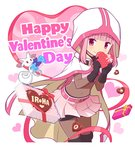 1girl :3 bag bangs belt belt_buckle black_footwear black_gloves black_shorts blunt_bangs bodystocking boots bow box buckle cape character_name chocolate_hair closed_mouth covered_navel cowboy_shot creature eyebrows_visible_through_hair floating gecchu gem gift gift_box gloves happy_valentine heart heart-shaped_box heart_background heart_print highres holding holding_box hood hood_up kyubey leaning_forward looking_at_viewer magia_record:_mahou_shoujo_madoka_magica_gaiden mahou_shoujo_madoka_magica pink_eyes pink_hair pink_skirt polka_dot red_bow red_eyes shorts shorts_under_skirt skin_tight skirt smile standing tamaki_iroha tareme thigh_boots thighhighs transparent two-handed valentine white_cape